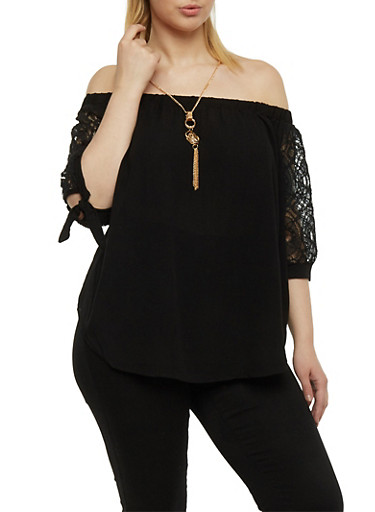 Plus Size Off the Shoulder Top with Lace Sleeves and Necklace,BLACK,large
