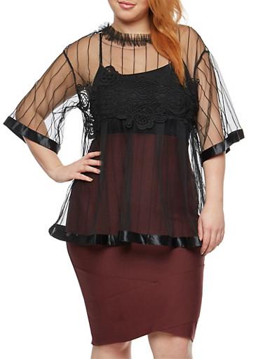 Plus Size Crochet Satin Trim Mesh Top,BLACK,large