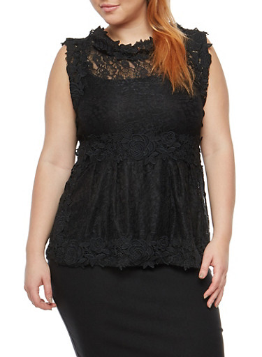 Plus Size Sleeveless Lace and Crochet Top,BLACK,large