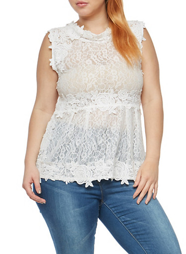 Plus Size Sleeveless Lace and Crochet Top at Rainbow Shops in Daytona Beach, FL | Tuggl