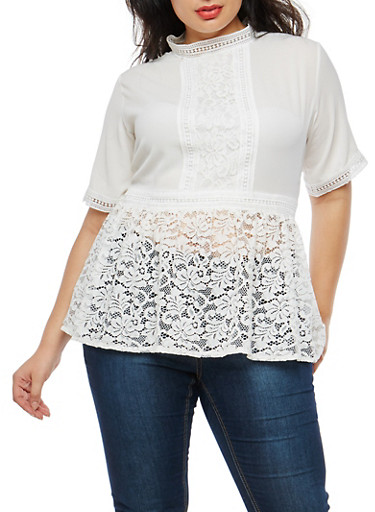 Plus Size Lace Hem Peplum Top,IVORY,large