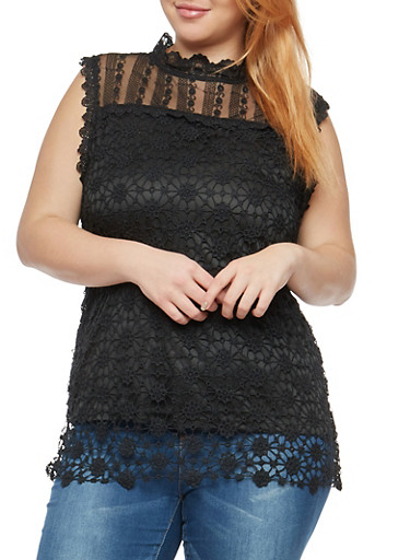 Plus Size Sleeveless Crochet Top,BLACK,large