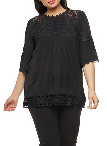 Plus Size Crepe Knit Pleated Blouse with Lace Shoulder Detail,BLACK,large