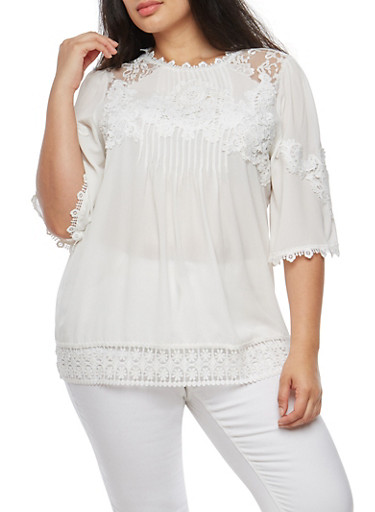 Plus Size Crepe Knit Pleated Blouse with Lace Shoulder Detail at Rainbow Shops in Daytona Beach, FL | Tuggl