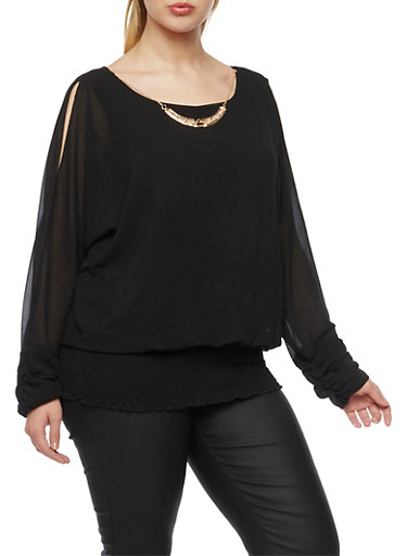 Plus Size Cold Shoulder Blouse with Necklace,BLACK,large
