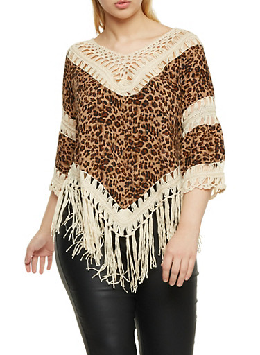 Plus Size Leopard Print Top with Crochet Trim,BROWN,large
