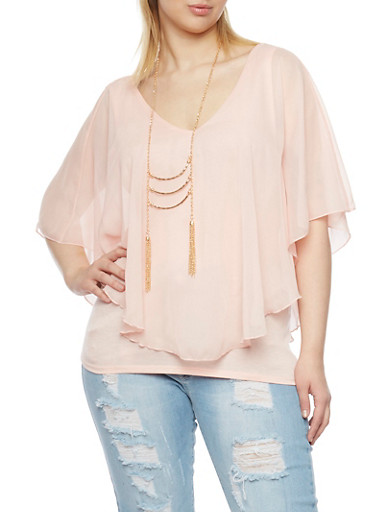 Plus Size Chiffon Overlay Top and Necklace,BLUSH,large