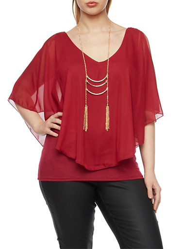 Plus Size Chiffon Overlay Top and Necklace,BURGUNDY,large