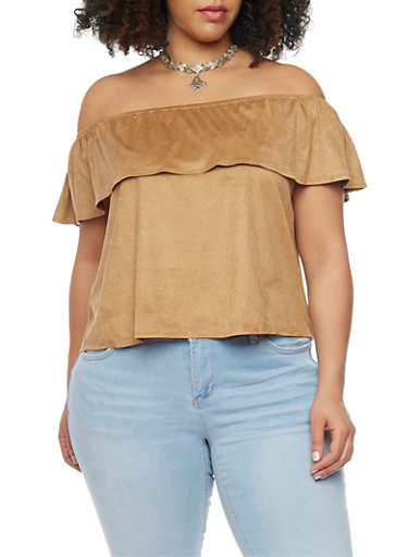 Plus Size Faux Suede Off the Shoulder Top with Choker Necklace,TAN (CAMEL),large