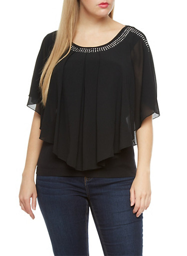 Plus Size Pleated Chiffon Ruffle Top with Metallic Stud Accents,BLACK,large