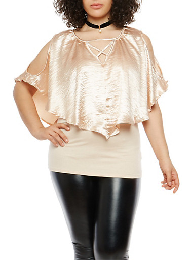 Plus Size Satin Overlay Caged Neck Top,PEACH,large
