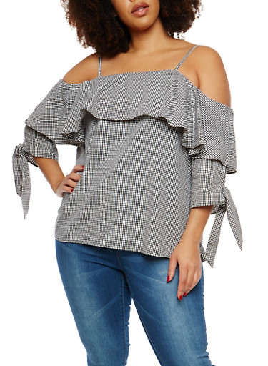 Plus Size Gingham Off the Shoulder Top,BLACK/WHITE,large