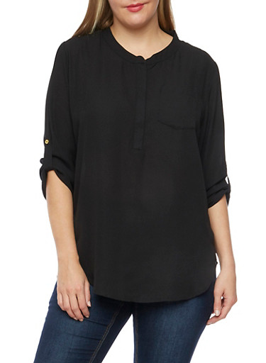 Plus Size Zippered Top with Mandarin Collar,BLACK,large