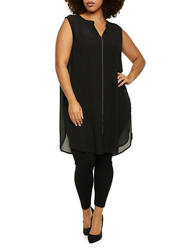 Plus Size Sleeveless Tunic Top with Zipper Accent,BLACK,large