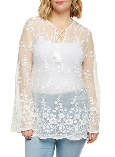 Plus Size Sheer Lace Tunic Top with Bell Sleeves,IVORY,large