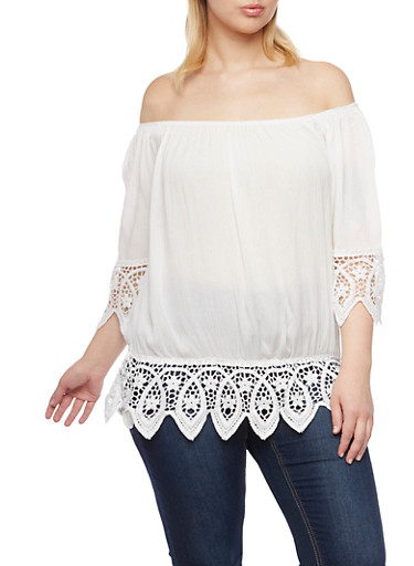 Plus Size Off the Shoulder Top with Crochet Trim,IVORY,large