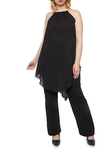 Plus Size Halter Chainlink Top with Asymmetrical Hem,BLACK,large