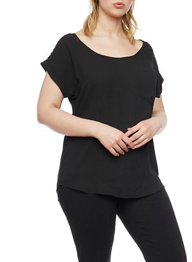 Plus Size Sliced Shoulder Short Sleeve Top,BLACK,large