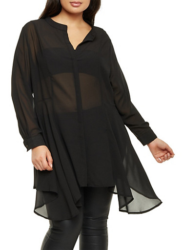 Plus Size Blouse with Draped Hem,BLACK,large