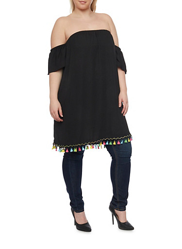 Plus Size Off the Shoulder Chiffon Tunic with Multicolored Tassel Trim,BLACK,large