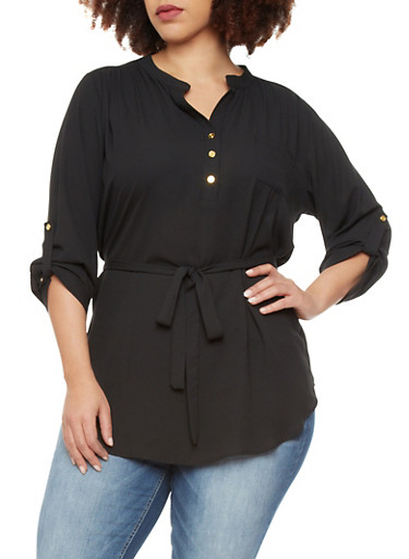 Plus Size Belted Top with Pocket,BLACK,large