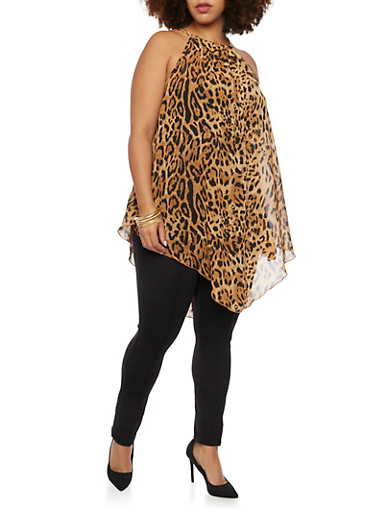 Plus Size Animal Print Tank Top with Chain Neck,BLACK,large