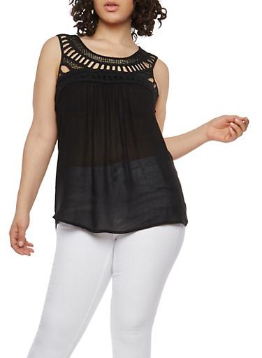 Plus Size Crochet Yoke Top,BLACK,large