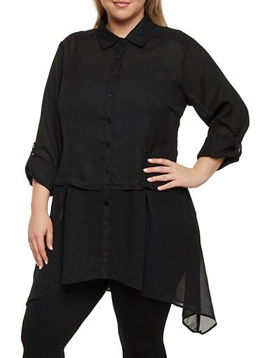 Plus Size Button Up Shirt with Asymmetrical Hem,BLACK,large