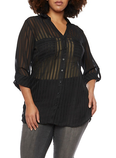 Plus Size Striped Top with Button Front,BLACK,large