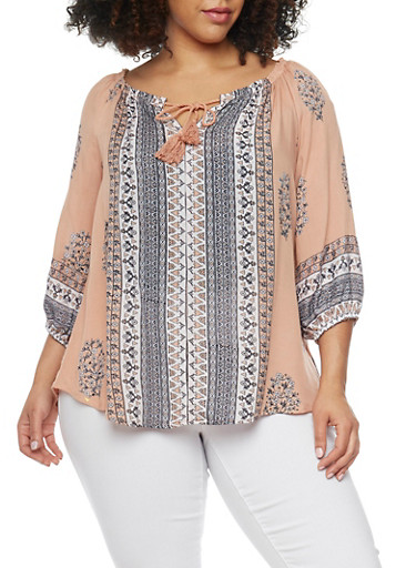 Plus Size Printed Keyhole Peasant Blouse,BLUSH/COMBO,large