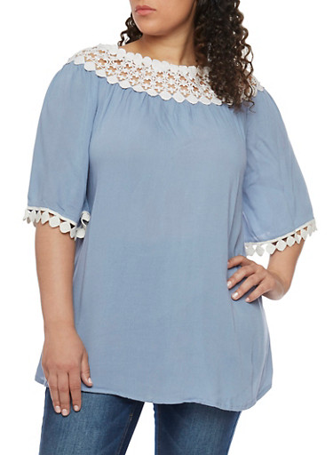 Plus Size Oversized Off the Shoulder Peasant Top with Crochet Trim,WHITE/BLUE,large