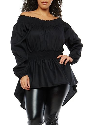 Plus Size Off the Shoulder High Low Top,BLACK,large