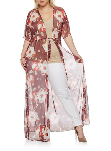 Plus Size Tie Waist Floral Duster,BURGUNDY,large
