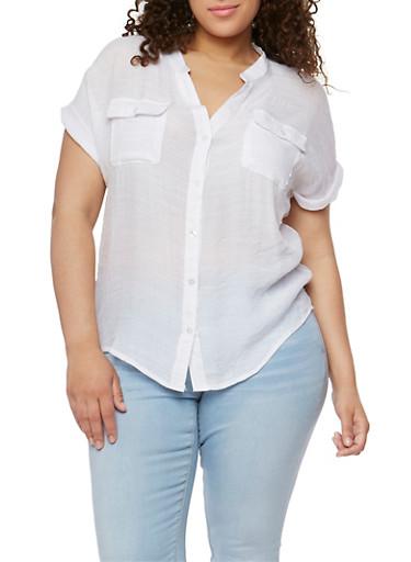 Plus Size Button Down Linen Shirt,WHITE,large