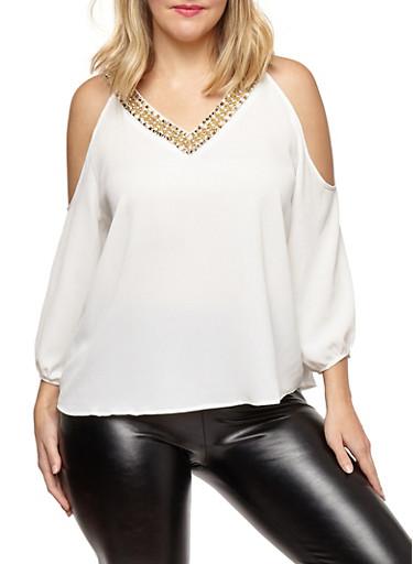 Plus Size Crepe Knit Cold Shoulder Top,IVORY,large
