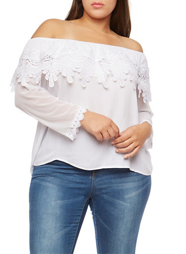 Plus Size Off the Shoulder Crochet Overlay Top,WHITE,large
