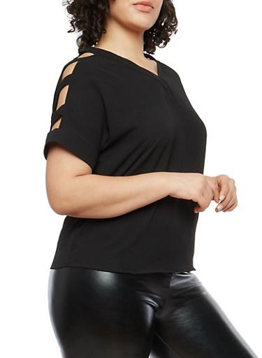 Plus Size Crepe Knit Caged Shoulder Top,BLACK,large