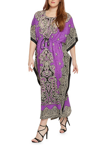 Plus Size Printed Embellished Caftan,PURPLE,large