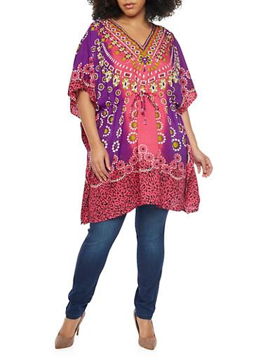 Plus Size Printed Tunic Top with Kimono Sleeves,FUCHSIA,large
