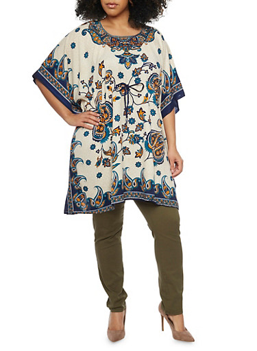 Plus Size Printed Tunic Top with Kimono Sleeves,TEAL,large