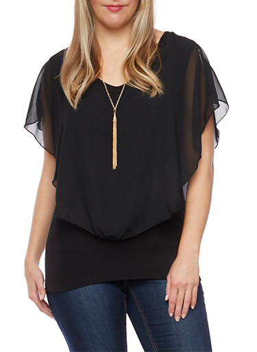 Plus Size Flutter Overlay Top with Necklace,BLACK,large