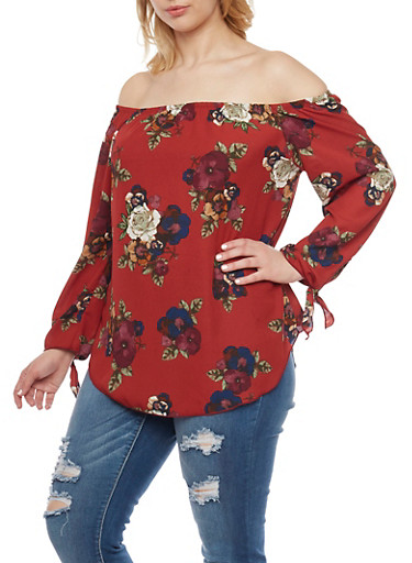 Plus Size Floral Off the Shoulder  Tie Sleeves Top,RED,large