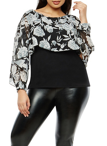 Plus Size Floral Slit Sleeve Overlay Top,BLACK,large