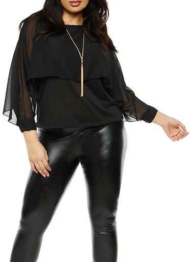Plus Size Chiffon Slit Sleeve Overlay Top,BLACK,large