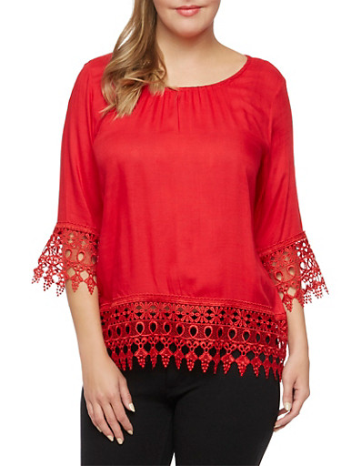 Plus Size Top with Crochet Trim,RED,large