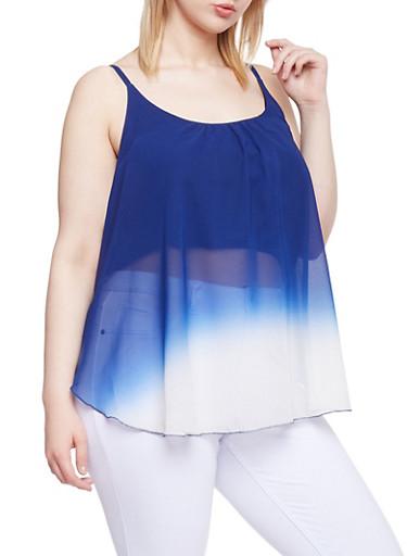 Plus Size Dip Dye Sleeveless Top,NAVY,large