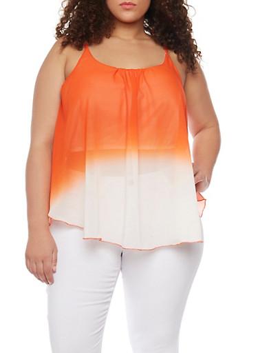 Plus Size Dip Dye Sleeveless Top,ORANGE,large