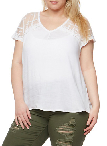 Plus Size V Neck Top with Crochet Trimmed Lace Yoke,WHITE,large