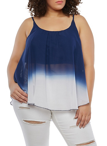 Plus Size Two Tone Tank Top,NAVY,large