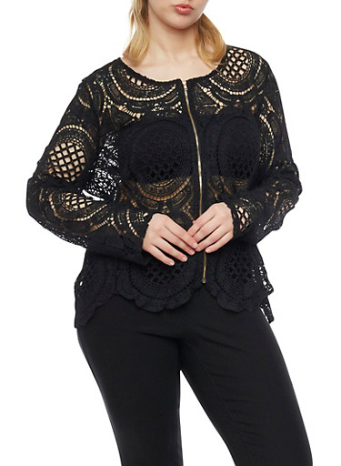 Plus Size Long Sleeve Crochet Zip Up Blazer,BLACK,large